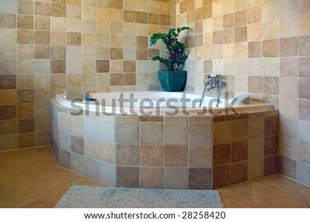 Bathtub with brown tiles