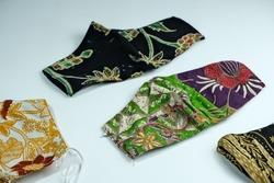 Batik Masks.  Masks made from Indonesian batik cloth.  Used during the covid 19 pandemic. Worn over a medical mask