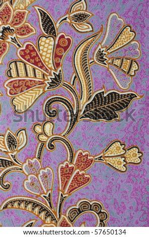 Batik textile flower fabric