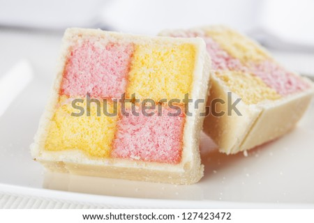Battenberg cake for afternoon tea