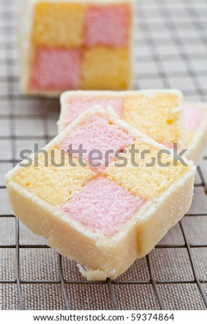 Battenberg cake on a cooling tray
