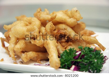 Fish  Batter on Batter Fried Golden Fish Nuggets In Plate Stock Photo 8021200