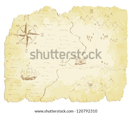 Battered and faded old map illustration.