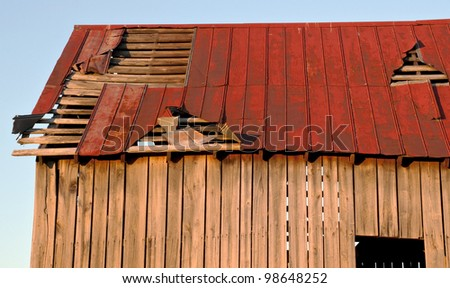 Battered barn roof