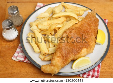 Battered cod and chips dinner.