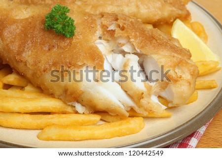 Battered cod with fries.