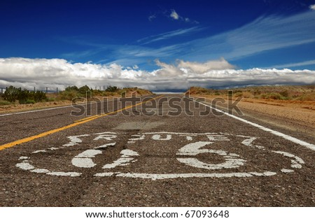 Battered portion of Historic Route 66 in the Mojave Desert, California.