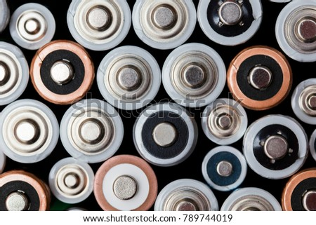 Batteries background. Energy supply and recycling concept