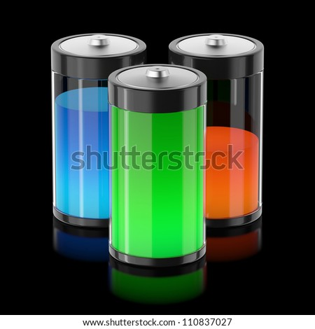 Batteries filled with different types of energy