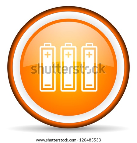batteries orange glossy circle icon on white background