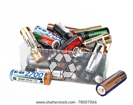 Batteries to recycling in transparent box - stock photo