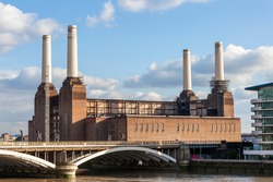 Battersea Power Station in London England UK a coal fired building built in 1935 now decommissioned and being redeveloped on the bank of the River Thames, stock photo image