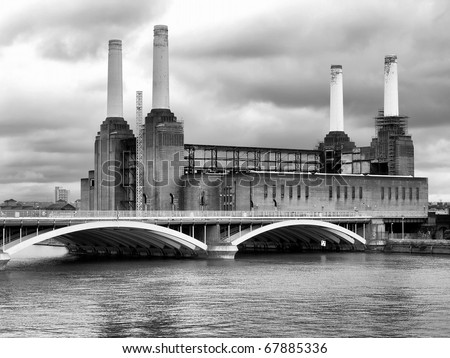 Battersea Power Station in London, England, UK - high dynamic range HDR - black and white