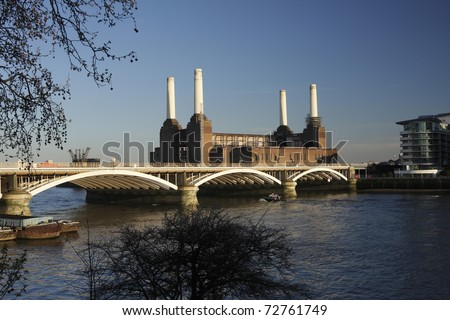 Battersea Power Station overlooking the Thames in the evening sun