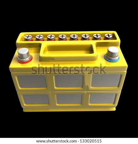 Battery car isolated on black background High resolution. 3D image
