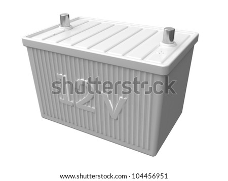 Battery car isolated on white