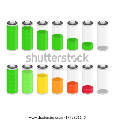 Battery charge status icon isolated on white background. Ten different Status of Charge. Bright design can be used to interface mobile application.