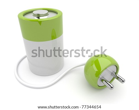 battery charger with plug. 3D isolated
