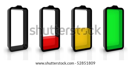 Battery charging or discharging symbols isolated on white. Part of a series.