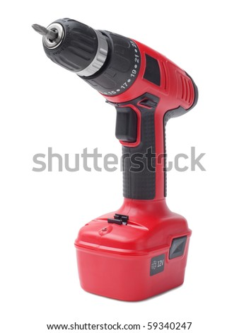 Battery drill on white background