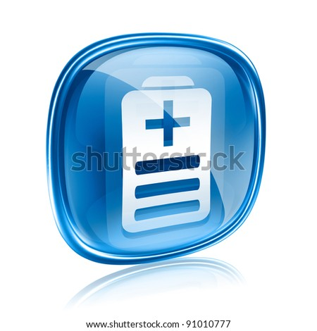Battery icon blue glass, isolated on white background
