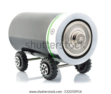 Battery on wheels like a car or electric vehicle