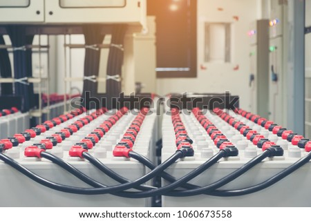 Battery pack in battery room in power plant for supply electricity in plant during shutdown phase, Rows of batteries in industrial backup power system. #1060673558