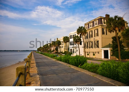 Battery Park in the historic waterfront area of Charleston, South Carolina