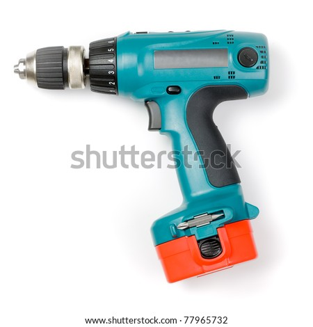 Battery-powered electric drill on white background