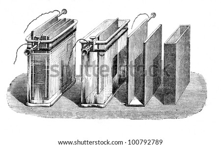 Battery, section and working.The first battery was invented by Alessandro Volta in 1800 and then improved by Daniell in 1836. Engraving  from L'Electricite' by J. Baille, Paris-Hachette 1868.