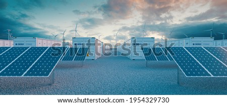 Battery storage power station  accompanied by solar and wind  turbine power plants. 3d rendering. Stock photo ©