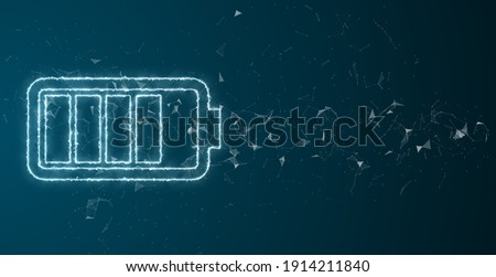 battery technology with fast recharge high power electric energy supply to run a green renewable energy battery storage future - 3D illustration rendering Stock photo ©