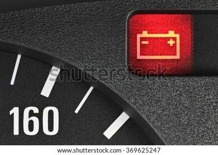 battery warning light in car dashboard #369625247