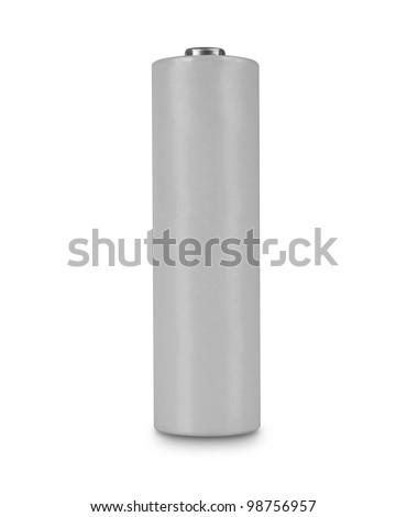 Battery with empty label isolated on white