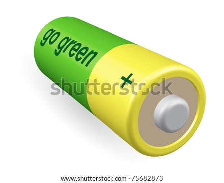 Battery with inscription GO GREEN. Ecology concept illustration.