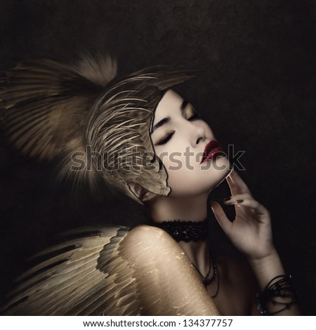 battle angel with feather helmet in calm thinking pose small amount of grain added