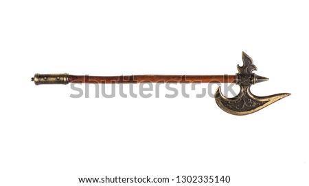 battle ax, poleaxe on white background