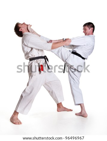 battle blow.figure in the karate fighting stance on a white background.masters of hand-to-hand fight