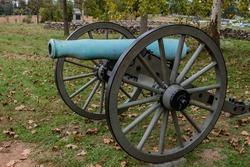 Battle Damaged Cannon, Gettysburg National Military Park, Pennsylvania, USA