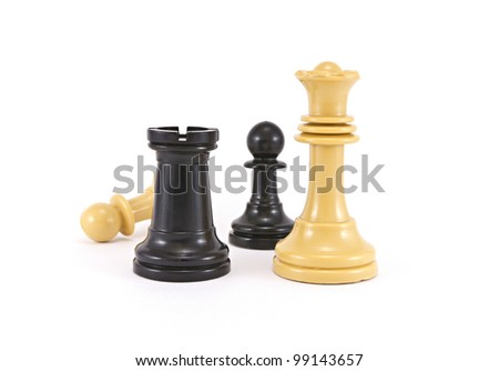 battle in chess - stock photo