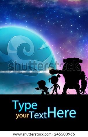 Battle in Galaxy - Illustration for children