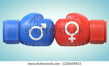 Battle of sexes, man and woman symbol on boxing gloves 3d rendering