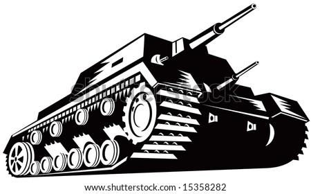 Battle tank black and white