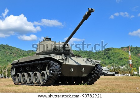 Battle tank with blue sky in background