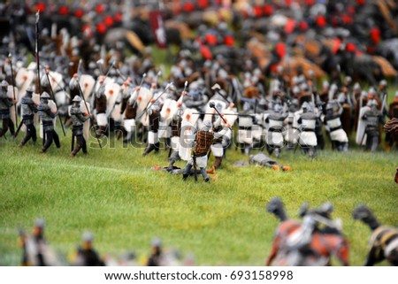 Stock Photo Battlefield model with toy soldiers