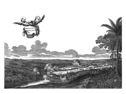 Battles at Porto Calvo, 1637, Battles with the Portuguese and native combatants at Porto Calvo, 1637. In the air a banderole with the title, vintage engraving.