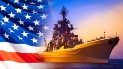 Battleship on the background of the American flag. American flag and military ship. American army. Participation in military conflicts on the water.The Navy of the United States. Warships of the world