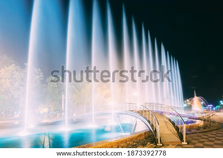 Batumi, Adjara, Georgia. Singing And Dancing Fountains Is Local Landmark At Boulevard Fountains. Night Illuminations. Foto stock ©
