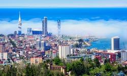 Batumi city and port, a major tourist destination on Black sea coast of Georgia, is famous for its modern architecture