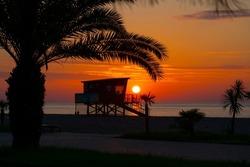 Batumi, Georgia - September 20, 2021: Sunset on the waterfront